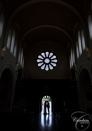Silhouette of happy couple at St Agnes Church, Crumlin, Dublin