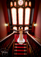 Bride on staircase, Dromoland Castle, Co Clare